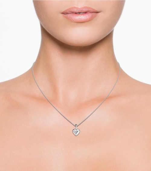 Luxusní stříbrný řetízek se srdíčkem s diamantem