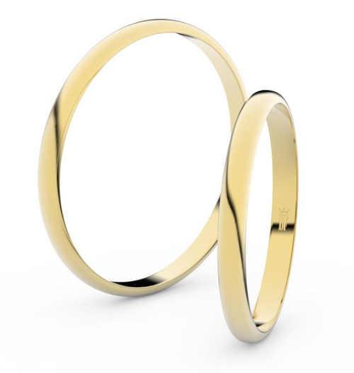 Jednoduché snubní prsteny ze žlutého zlata půlkulatý profil