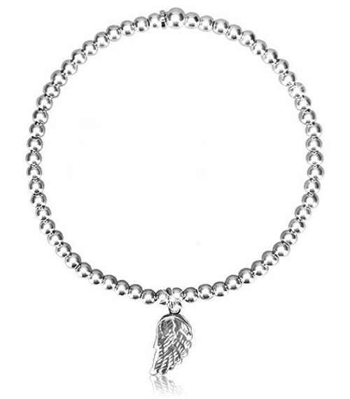 Roztahovací kuličkový stříbrný náramek s příveskem andělské křídlo