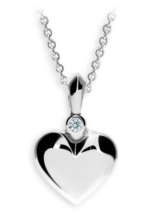 Stříbrný dámský přívěsek s řetízkem - srdce s briliantem