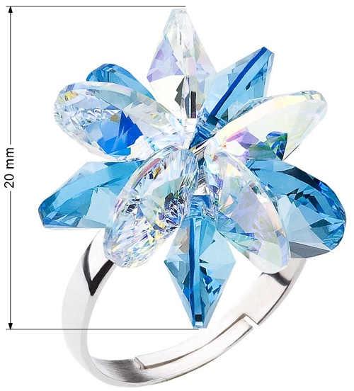 Dámský prsten s krystalovou kytičkou šířky dva centimetry