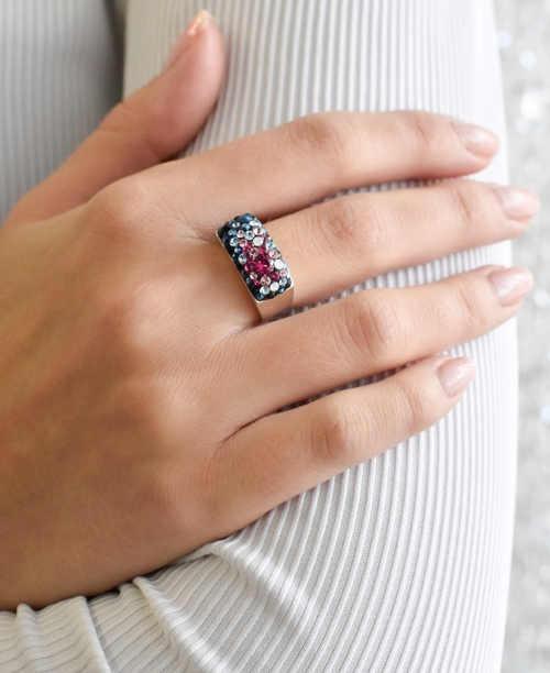 Dámský prstýnek Swarovski s mnoha krystaly