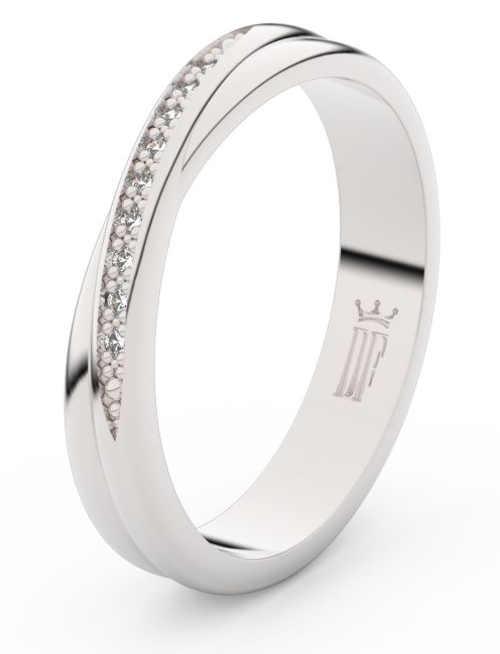 Dámský snubní prsten z bílého zlata se zirkony