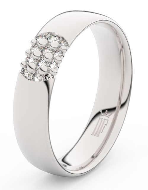 Dámský snubní prsten bílé zlato a 12 diamantů