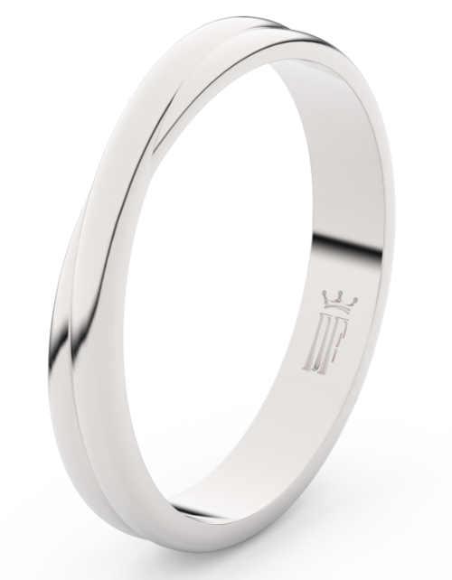 Moderní pánský snubní prsten z bílého zlata