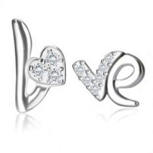 Stříbrné náušnice Love se srdíčkem a zirkony