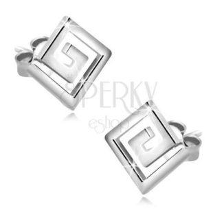 Stříbrné náušnice motiv řeckého klíče - labyrint
