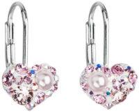 Stříbrné visací náušnice srdíčka s růžovými krystaly Swarovski