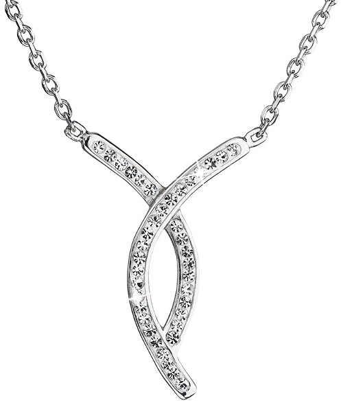 Stříbrný náhrdelník s propleteným přívěskem zdobeným třpytivými krystaly Swarovski