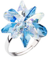 Stříbrný prsten s modrou kytičkou krystaly Swarovski
