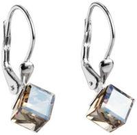 Visací stříbrné náušnice zlatá kostička krystaly Swarovski