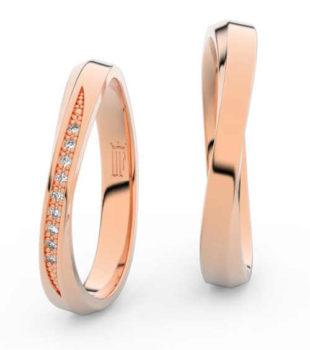 Asymetrické snubní prsteny z růžového zlata