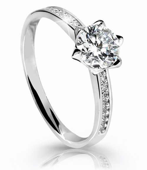 Dámský zásnubní prsten z bílého zlata s velkým zirkonem