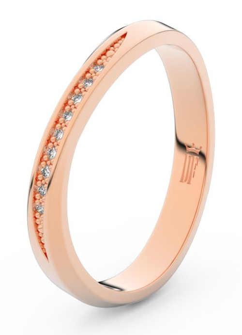 Dámský snubní prsten z růžového zlata s diamanty