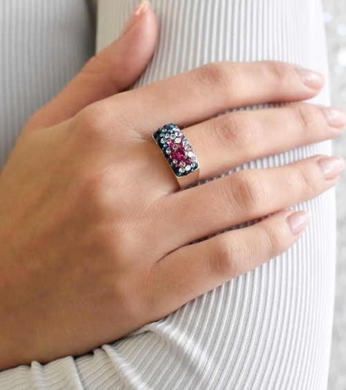 Masivní dámský prsten s krystaly Swarovski