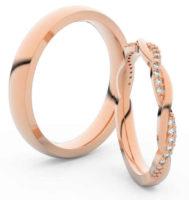 Snubní prsteny z růžového zlata dámský s propletenými diamanty