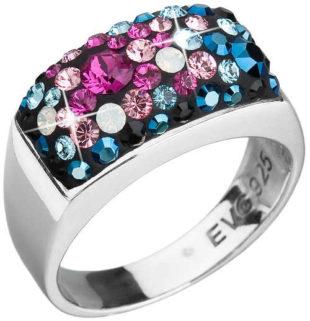 Stříbrný prsten s modrými a růžovými krystaly Swarovski