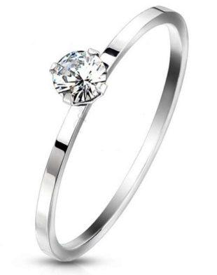 Hypoalergenní ocelový zásnubní prsten se zirkonem