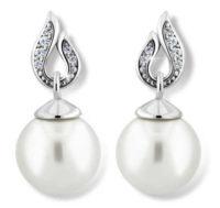 Luxusní visací perlové náušnice se zirkony