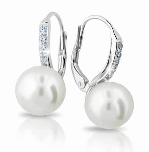 Náušnice z bílého zlata s velkou perlou a zirkony