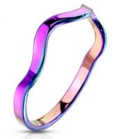 Zvlněný ocelový prsten v duhovém barevném odstínu