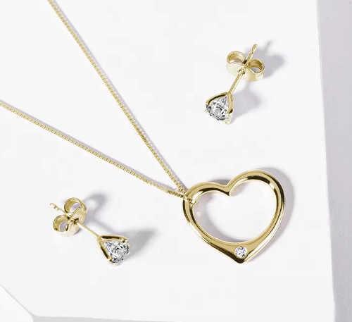 Briliantové šperky ze žlutého zlata náušnice pecky a přívěšek srdíčko