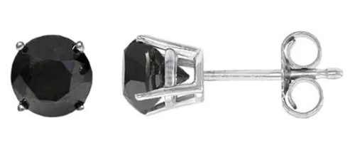 Dámské naušnice pecky z bílého zlata s černým diamantem