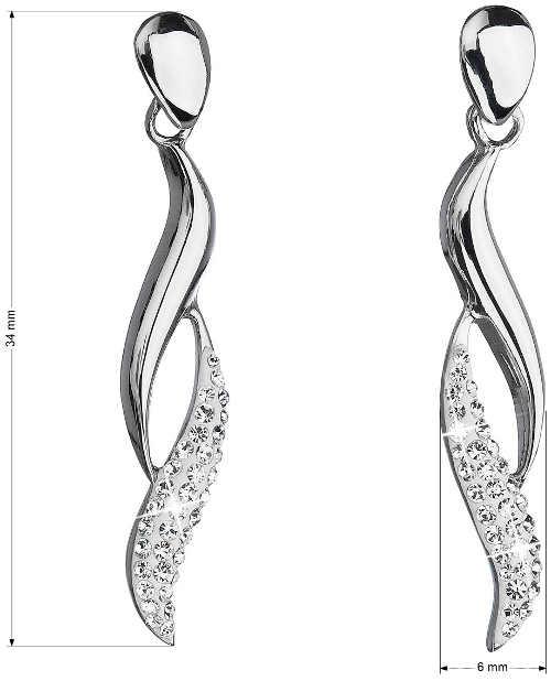 Dlouhé stříbrné dámské náušnice s kameny Swarovski