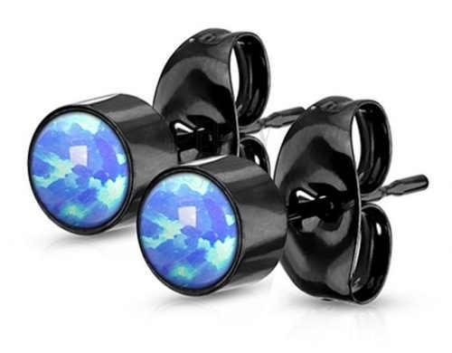 Černé náušnice z chirurgické oceli s modrými opály