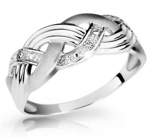 Dekorativní dámský prsten z bílého zlata s briliantem