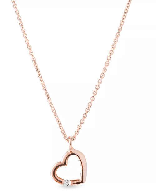 Diamantový přívěsek srdce v růžovém zlatě s řetízkem