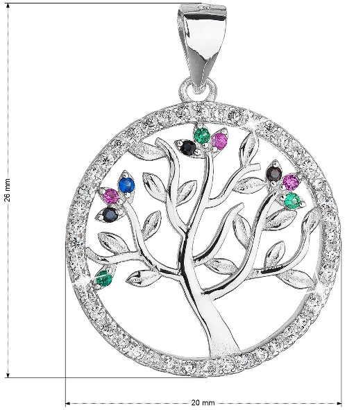 Dva centimetry velký stříbrný přívěšek Strom života se zirkony