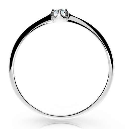 Jednoduchý zásnubní prsten bílé zlato s briliantem