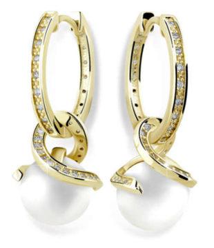 Luxusní zlaté náušnice kruhy se zirkony a perlou