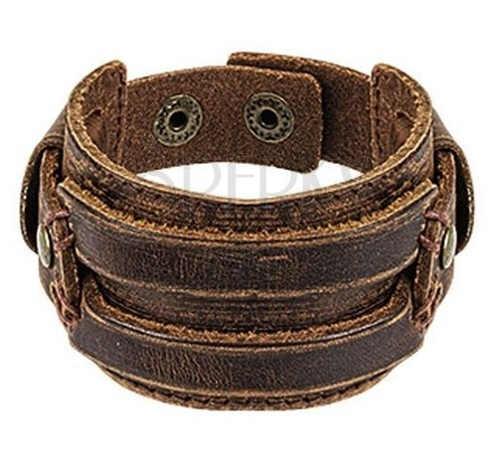 Mohutný kožený náramek se širokým ozdobným pásem
