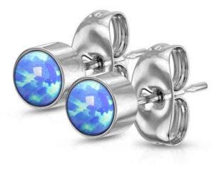 Náušnice pecky z chirurgické oceli se syntetickými modrými opály