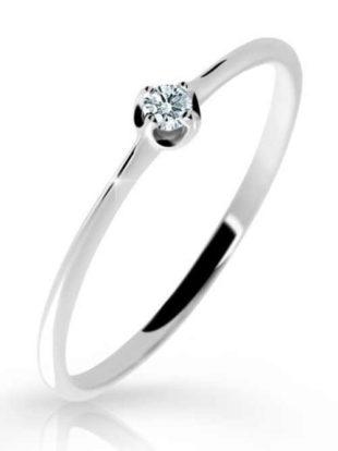 Tenký zásnubní prsten z bílého zlata s briliantem