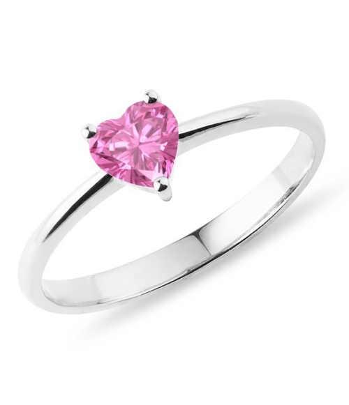 Prsten z bílého zlata s růžovým safírem