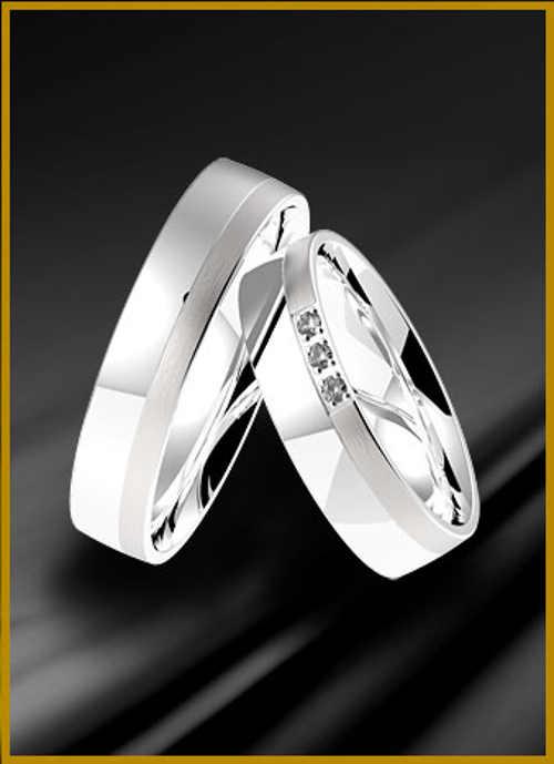 Snubní prsteny z bílého zlata v provedení lesk a mat