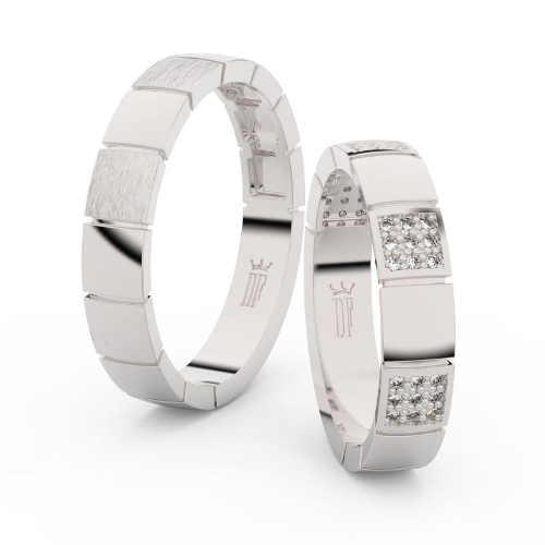 Snubní prsteny z bílého zlata zdobené zirkony