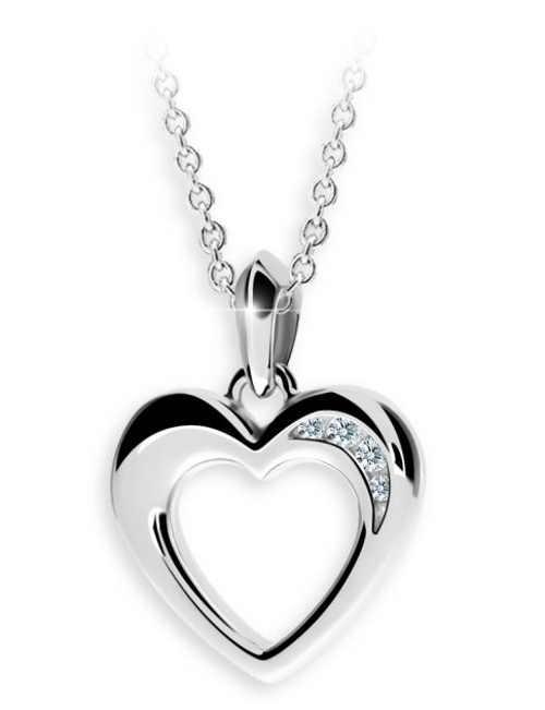 Stříbrný přívěšek srdce s řetízkem