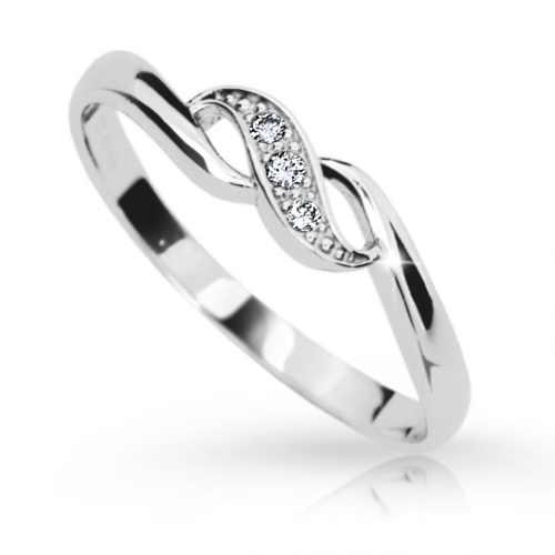 Dámský prsten z bílého zlata s briliantem