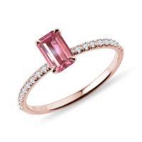 Prsten s turmalínem a diamantem z růžového zlata