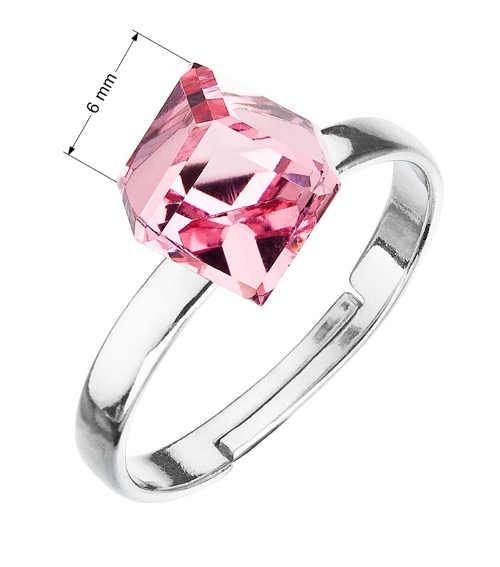 dámský stříbrný prsten s krystaly růžová kostička