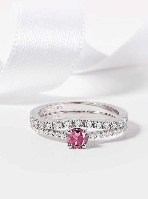 snubní prsten z bílého zlata s diamanty