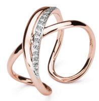 Bicolor prsten se zirkony v originálním provedení