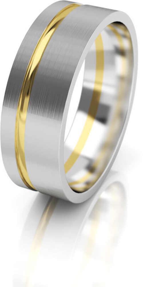 Dámský snubní prsten v kombinaci bílé a žluté zlato