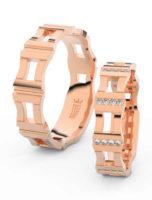 Netradiční snubní prsteny Casting z růžového zlata se zirkony