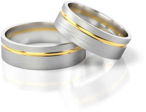 snubní prsten z bílého a žlutého zlata