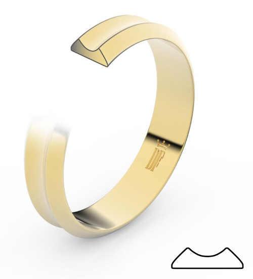 snubní prsteny ze žlutého zlata v jednoduchém vzhledu